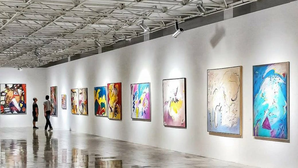 colorful arts hanging on wall