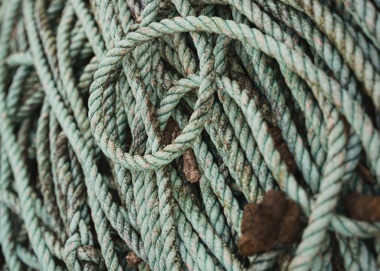 thick strong rope on deck