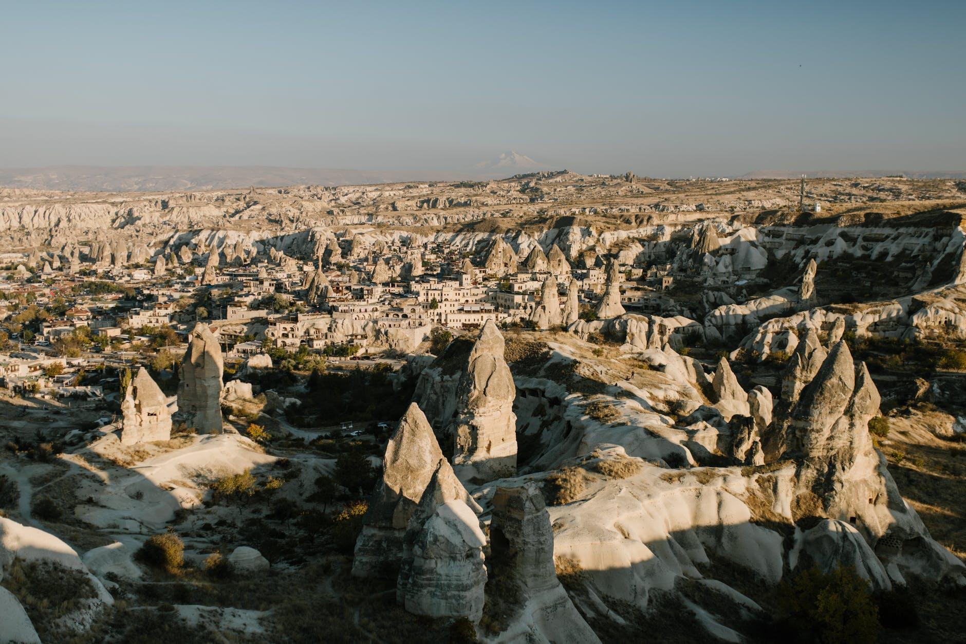 medieval stone town on spacious rocky terrain
