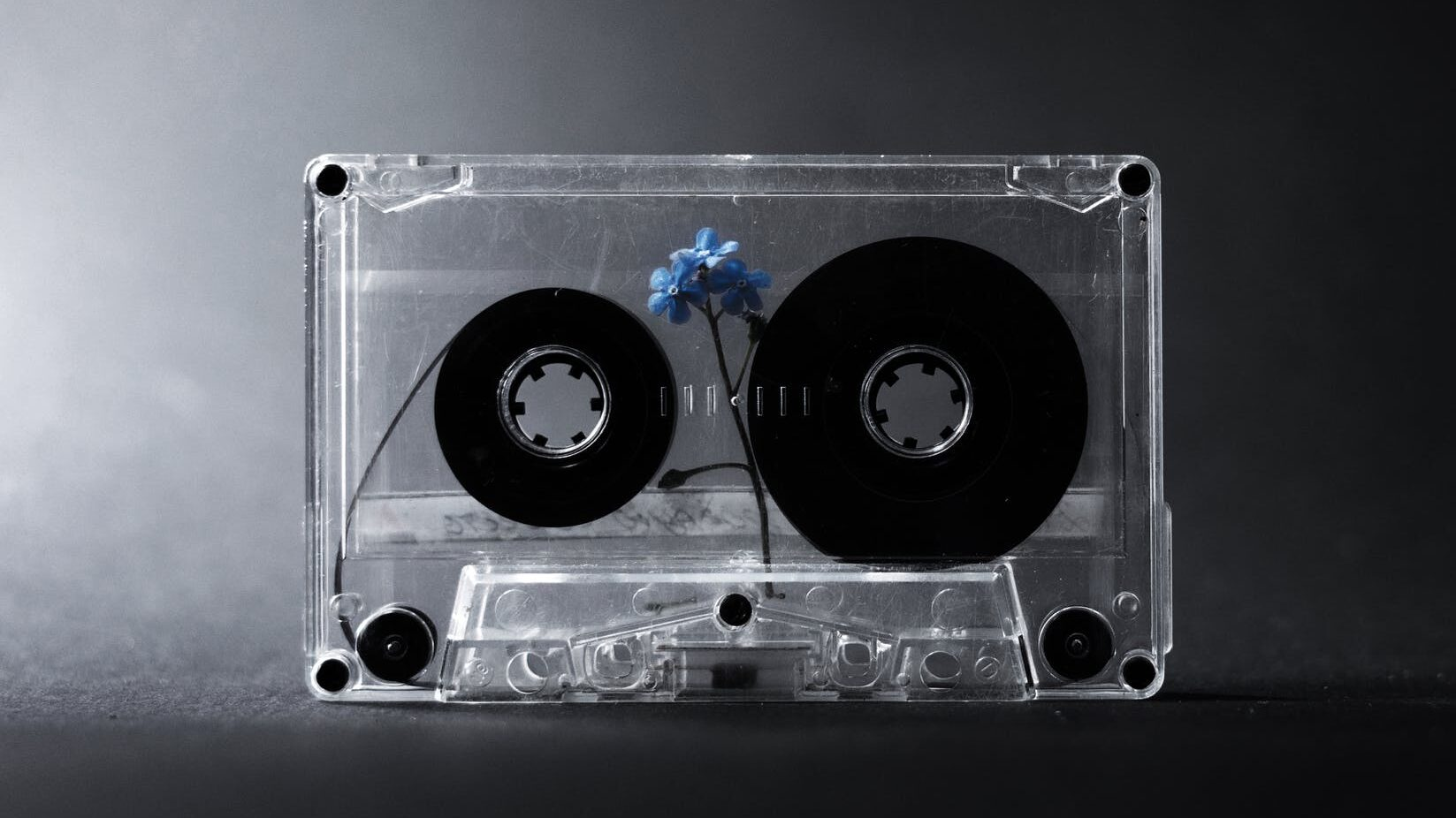 retro cassette tape with small flower