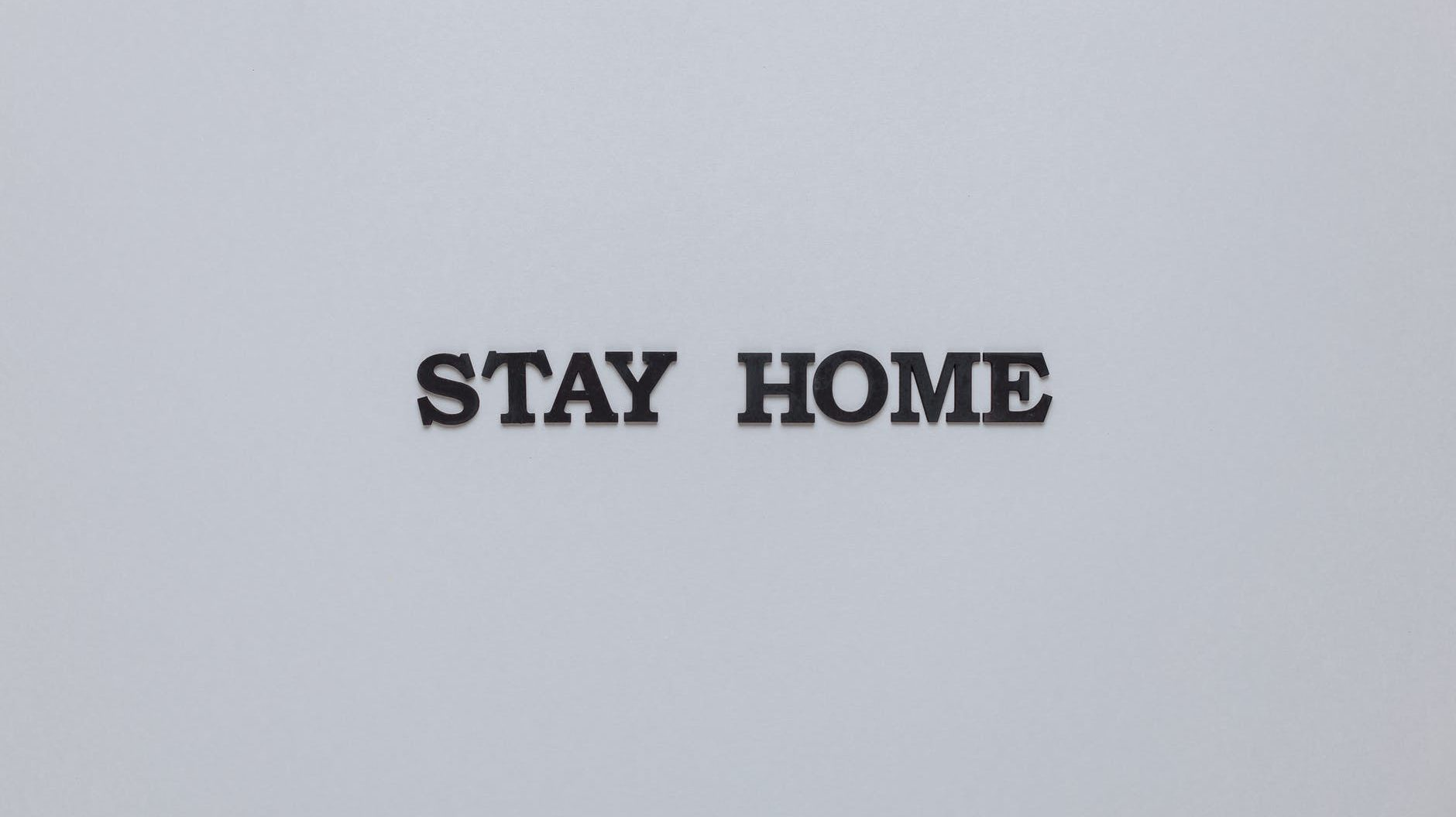stay home slogan on gray background